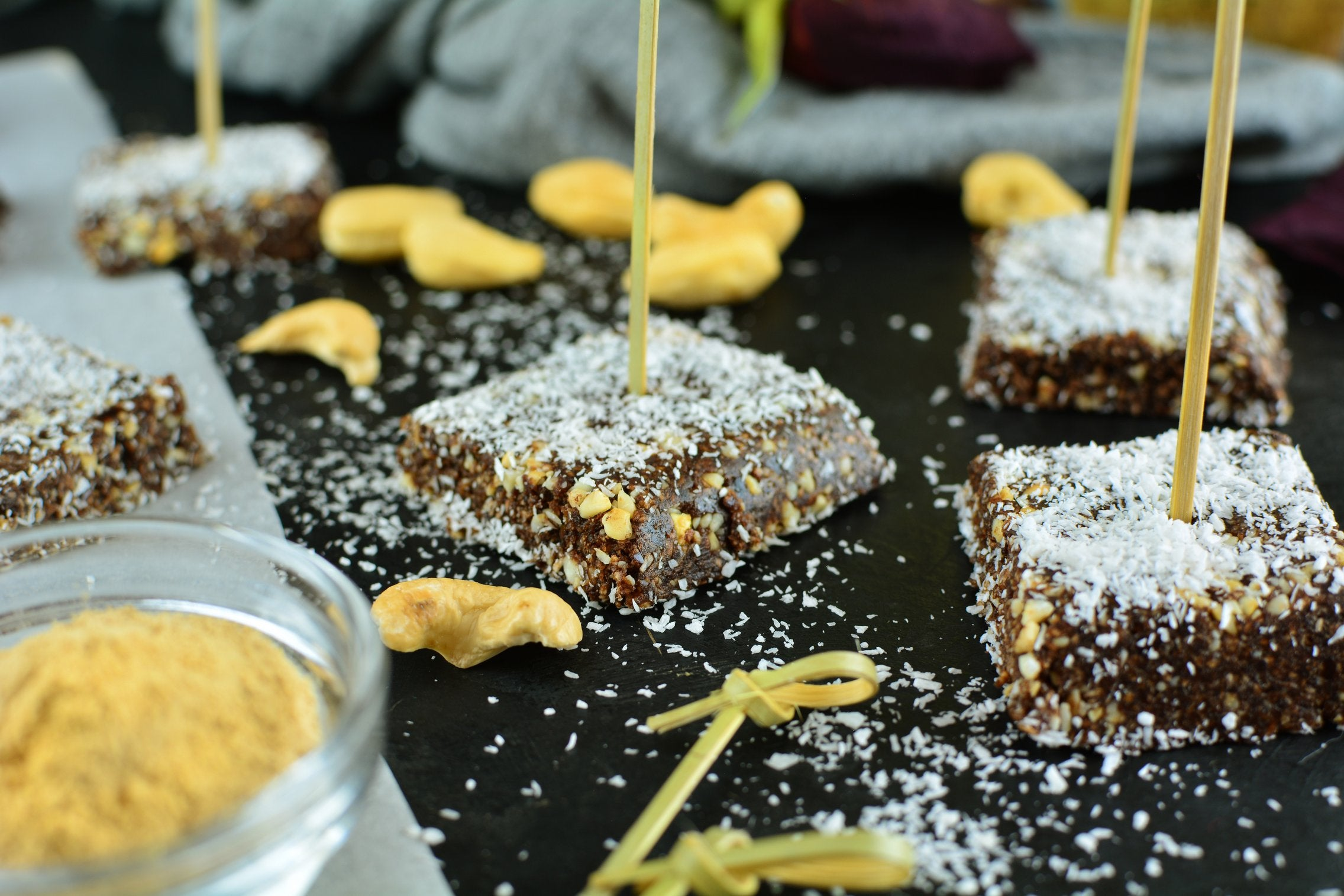 No Bake Mini Maca Coconut Brownies with Dates and Cashews