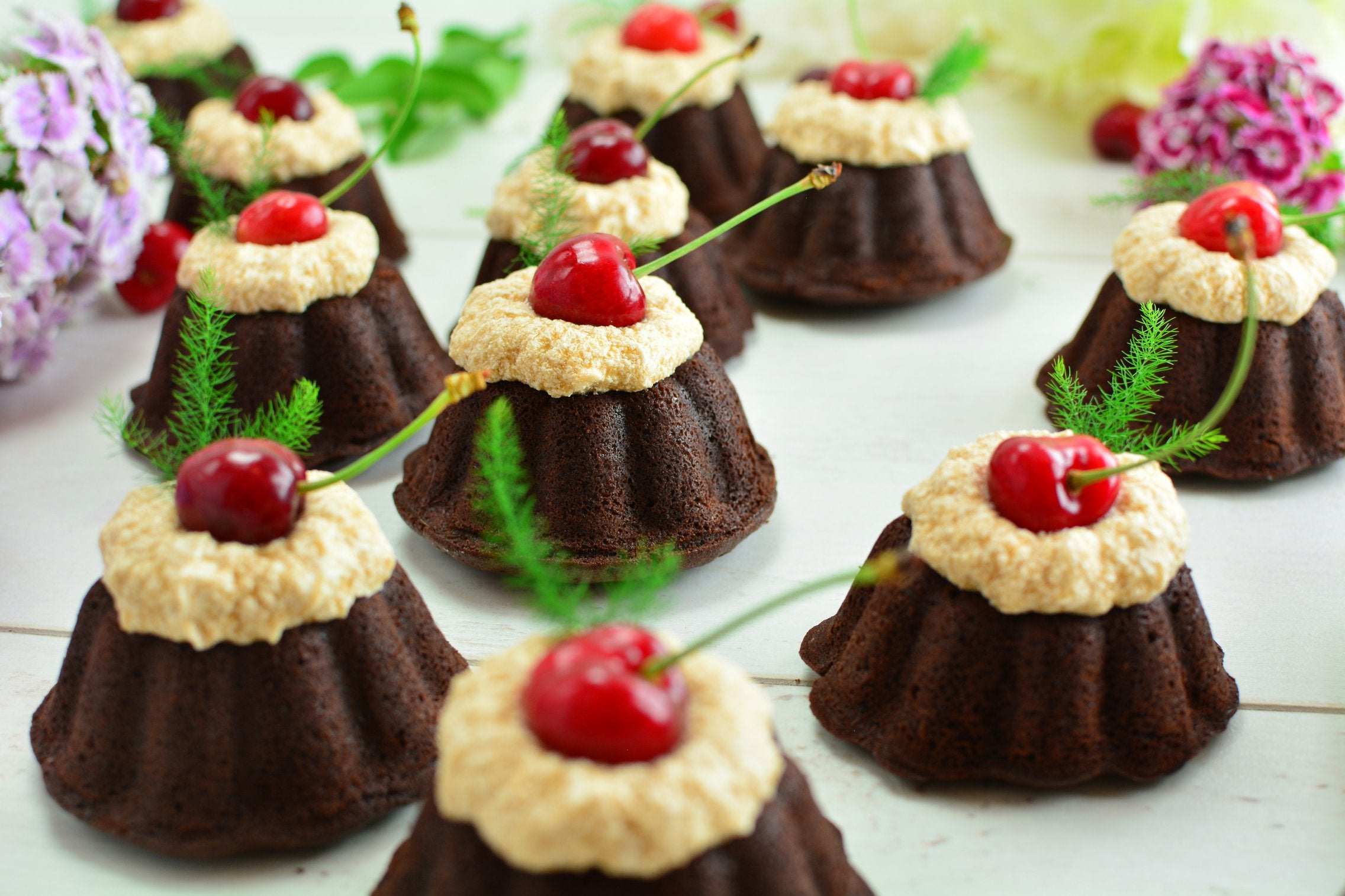 Maca Mini Cherry Bundt Cakes with Cocoa