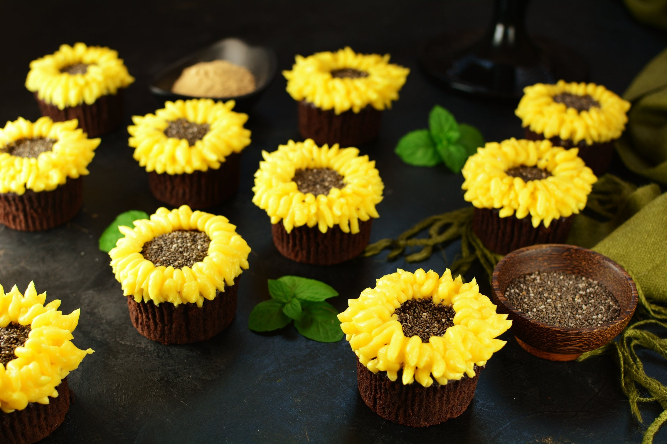 Sunflower Maca Cupcakes - Final Product