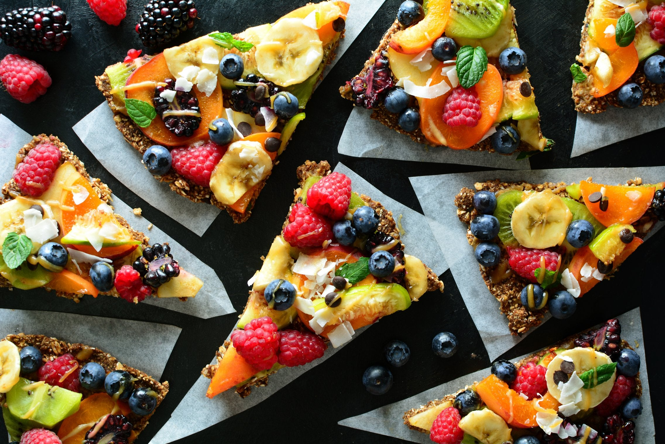 Fruit Maca Pizza with Salted Caramel