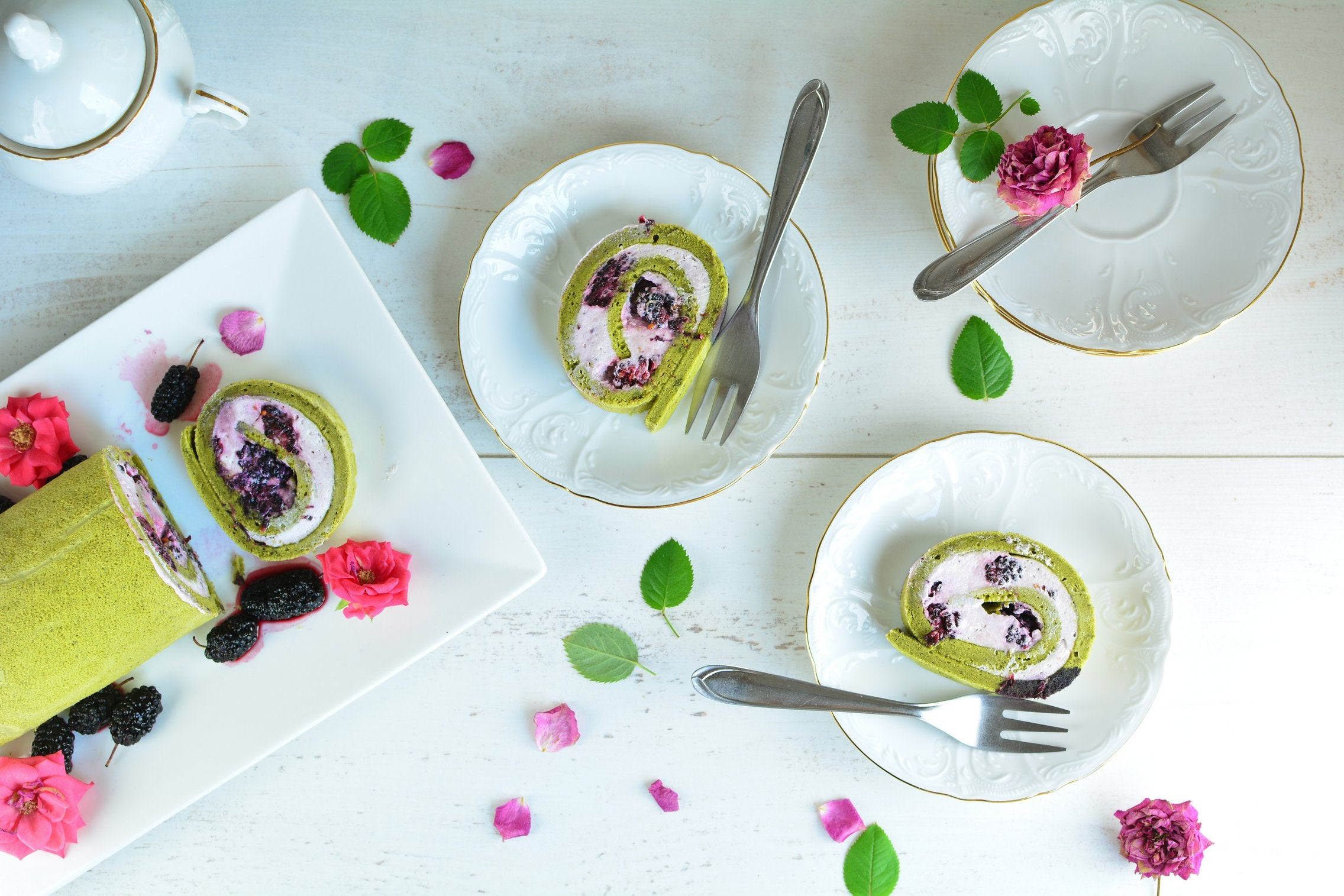 Matcha Mulberry Roll Cake with Vanilla