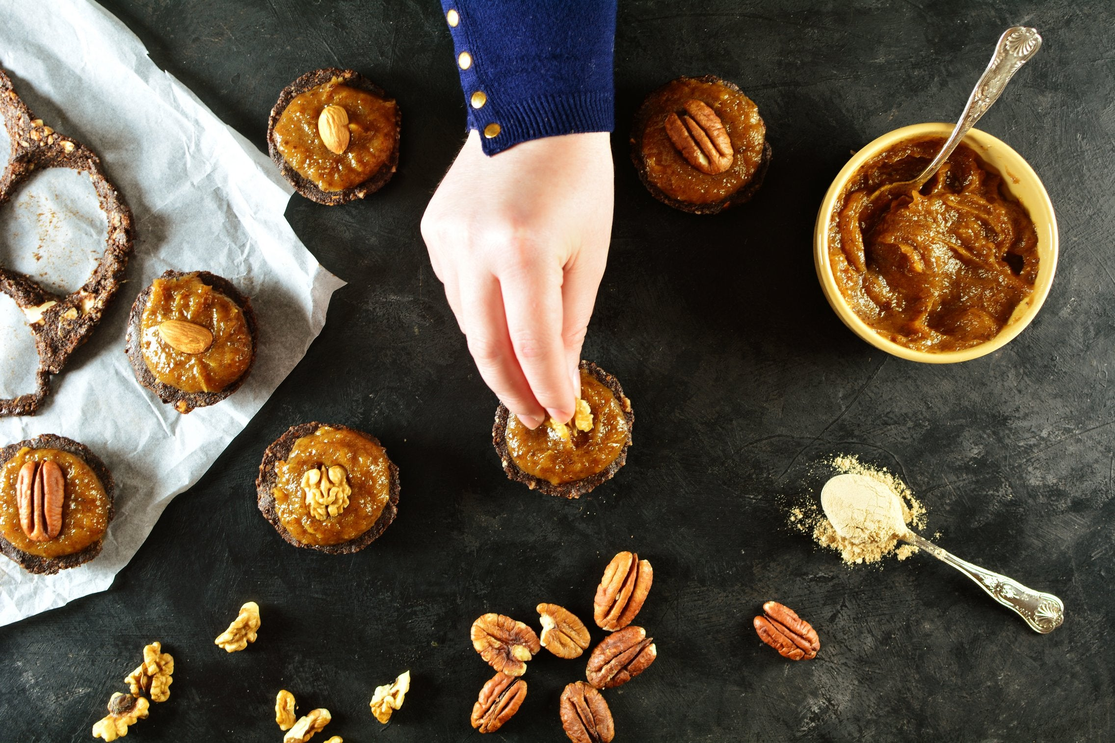 Almond Cocoa Cookies with Salted Maca Caramel