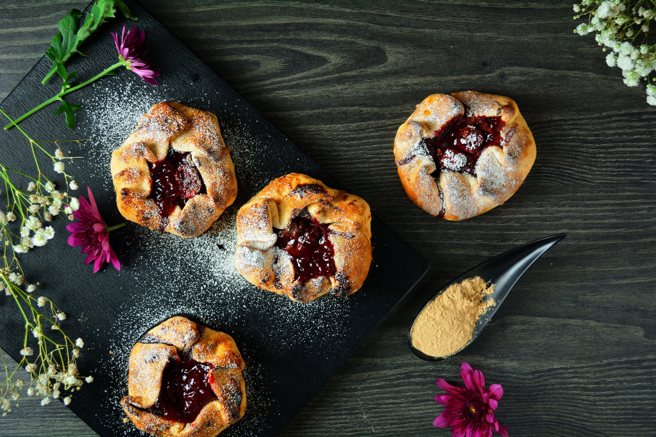 Maca Galettes With Straberry And Coconut Sugar