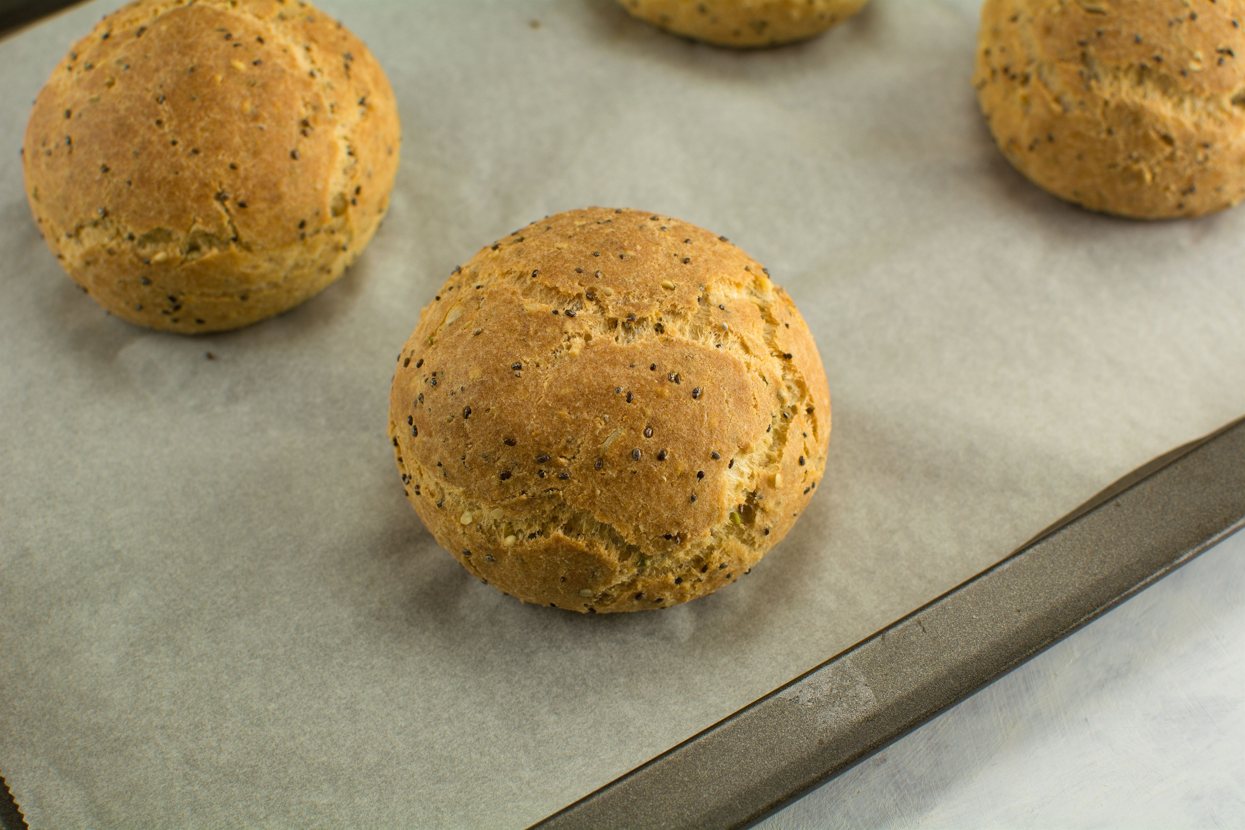 Almond Flour and Psyllium Buns with Seeds