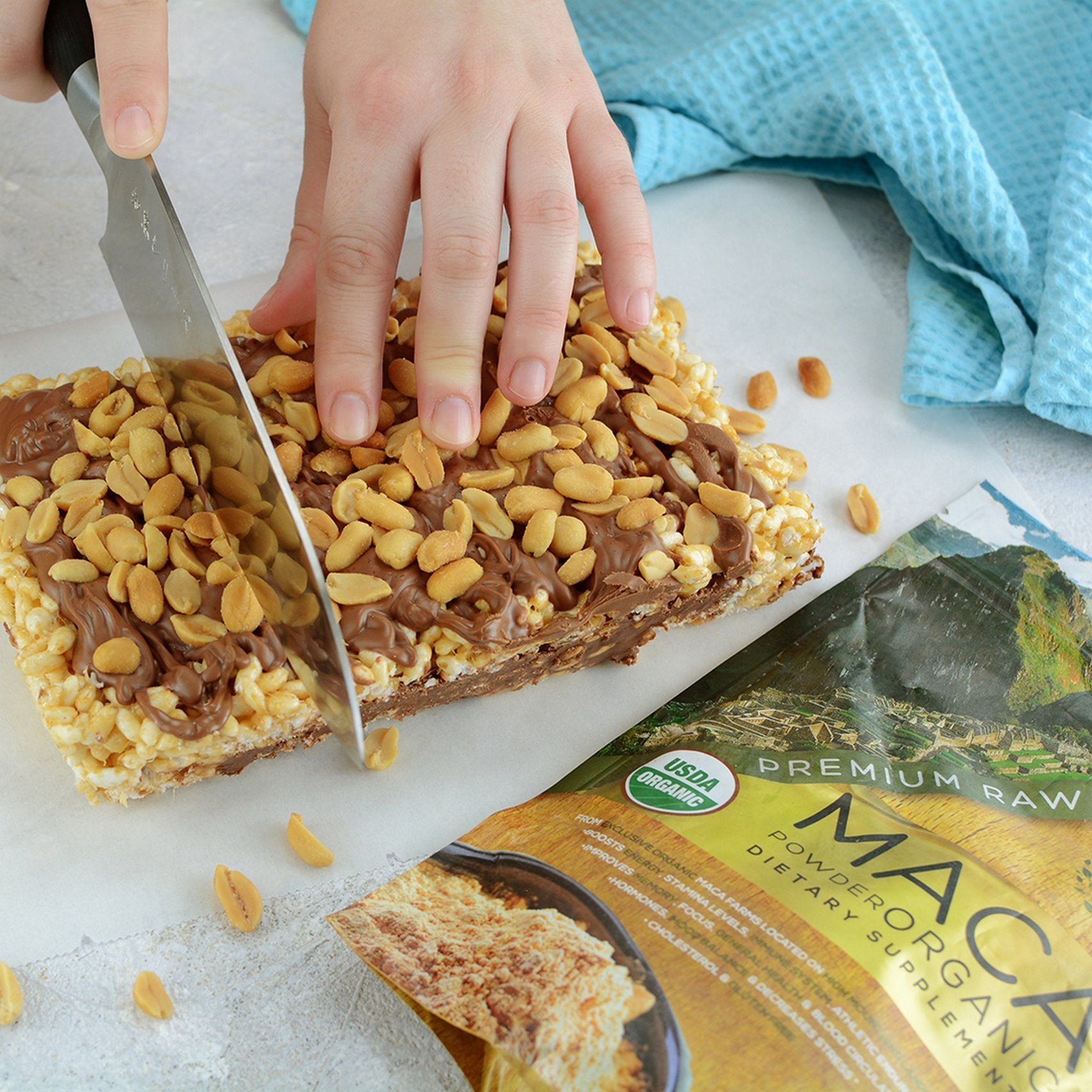 cutting Puffed Rice Bars with Peanut Butter