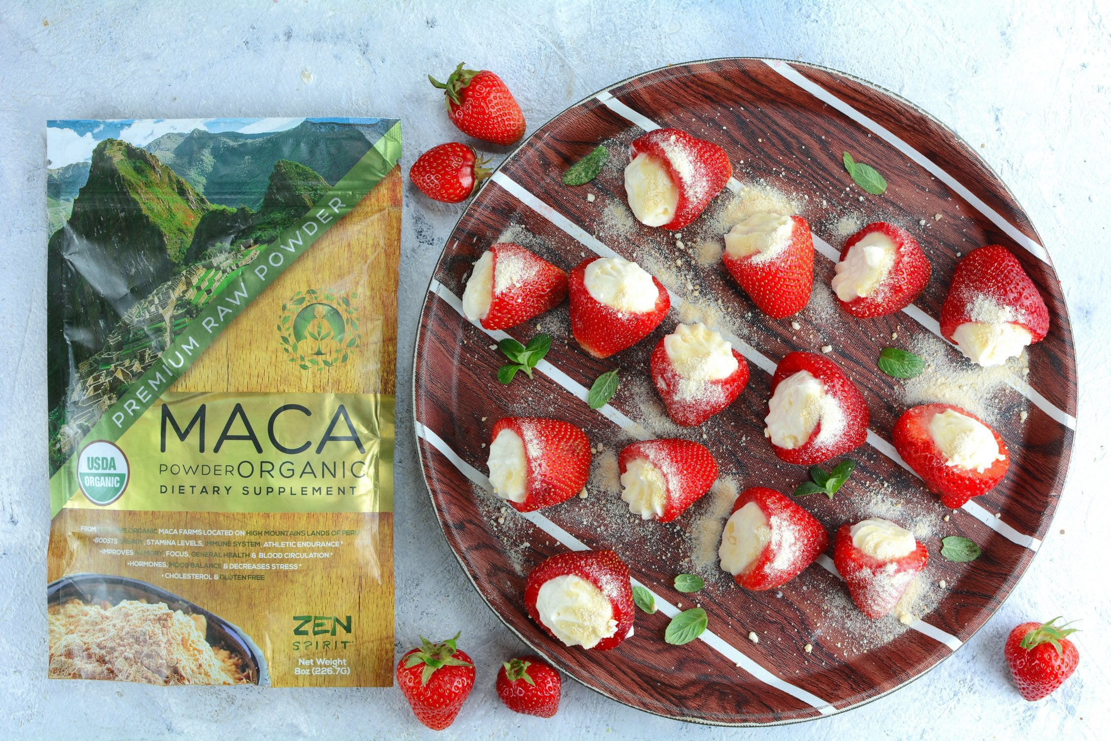 Maca Cheesecake Strawberries