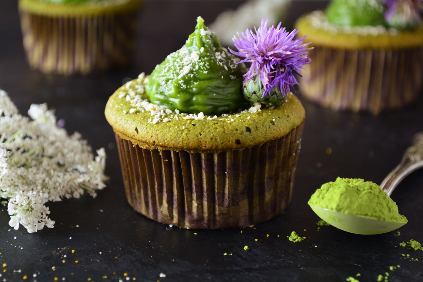 Matcha Cupcakes With Chocolate and Heavy Cream Topping