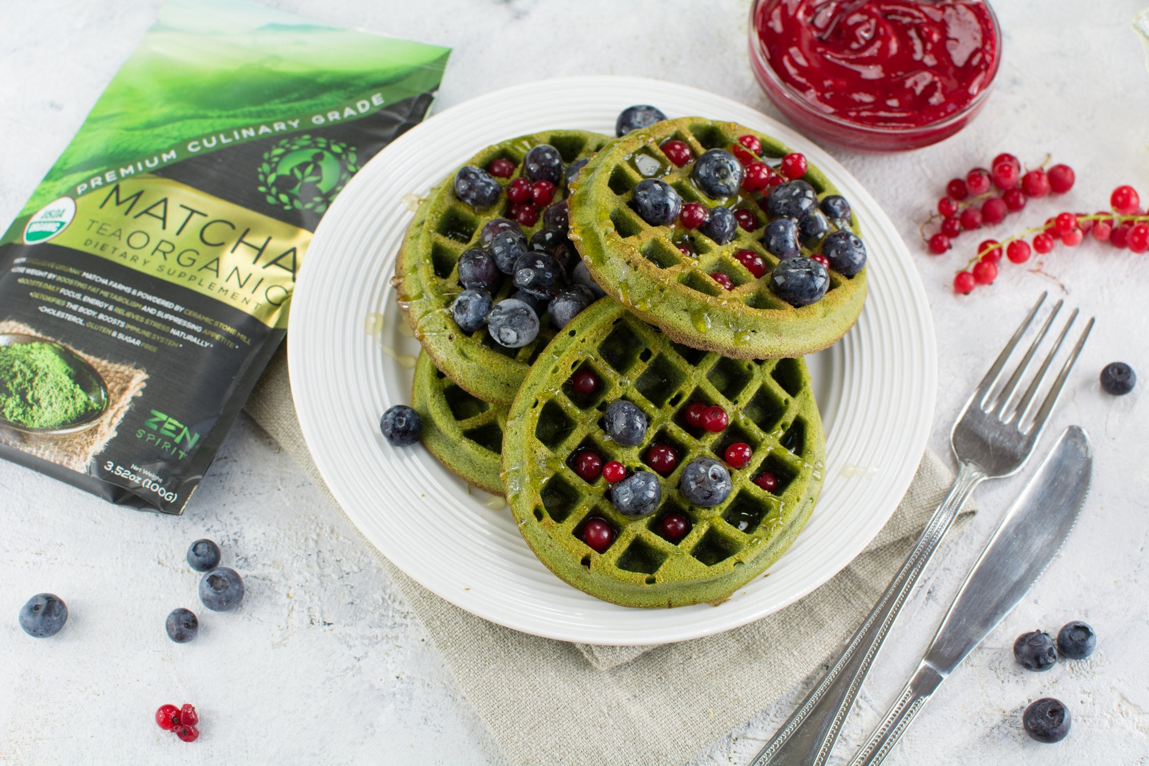 Baked Matcha Waffles final product