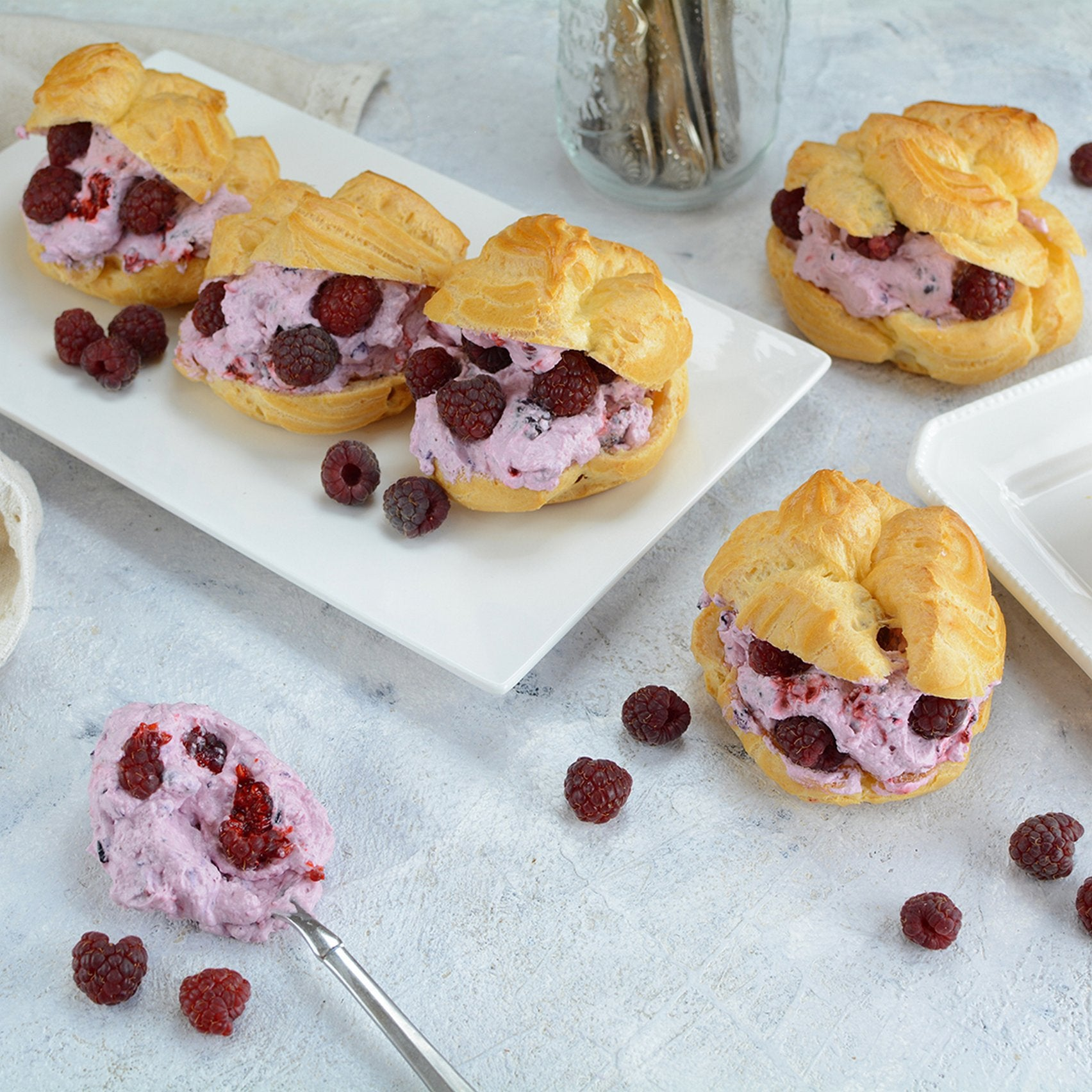 Raspberry and Maca Cream Puffs close