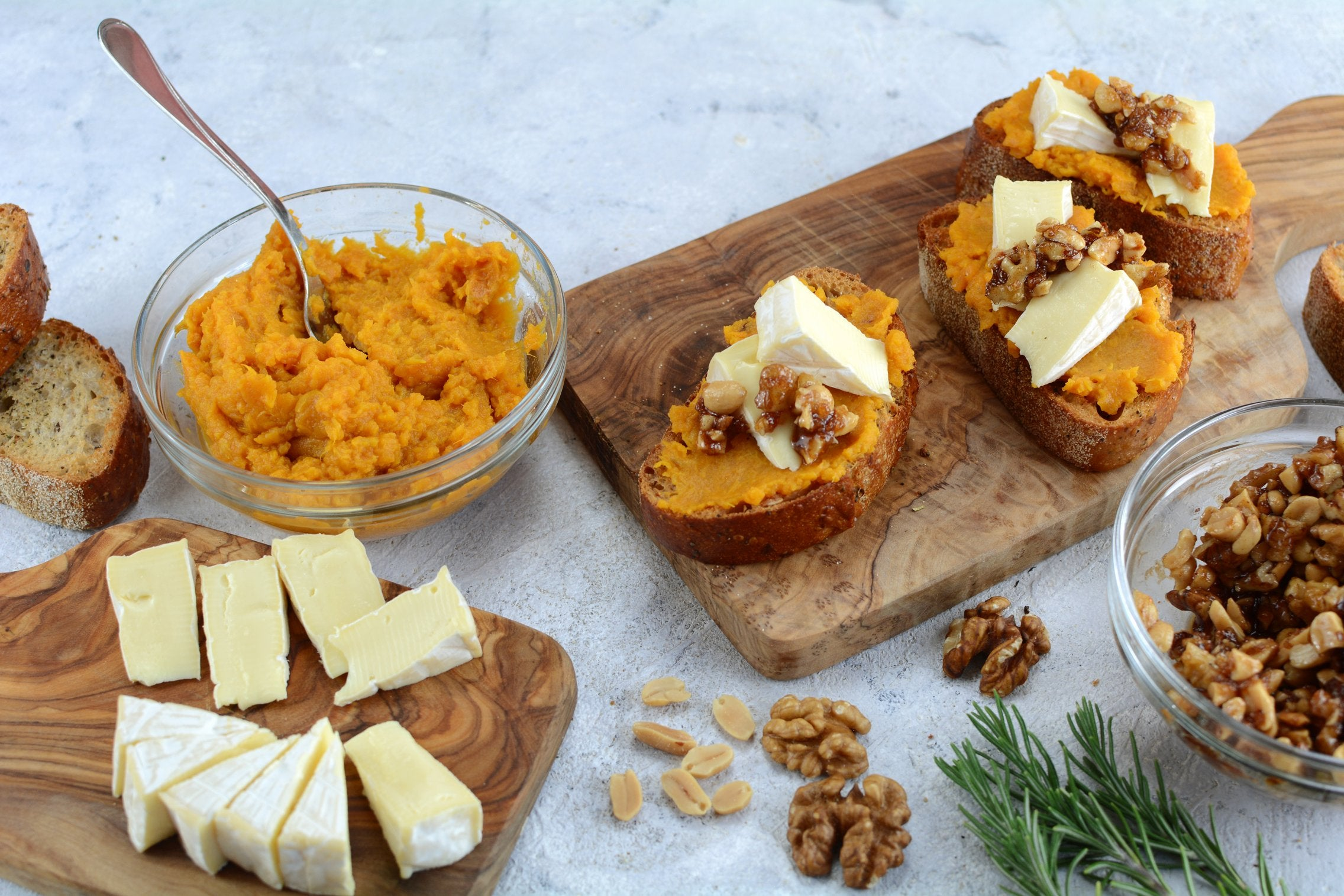 Sweet Potato and Brie Crostini with Candied Nuts