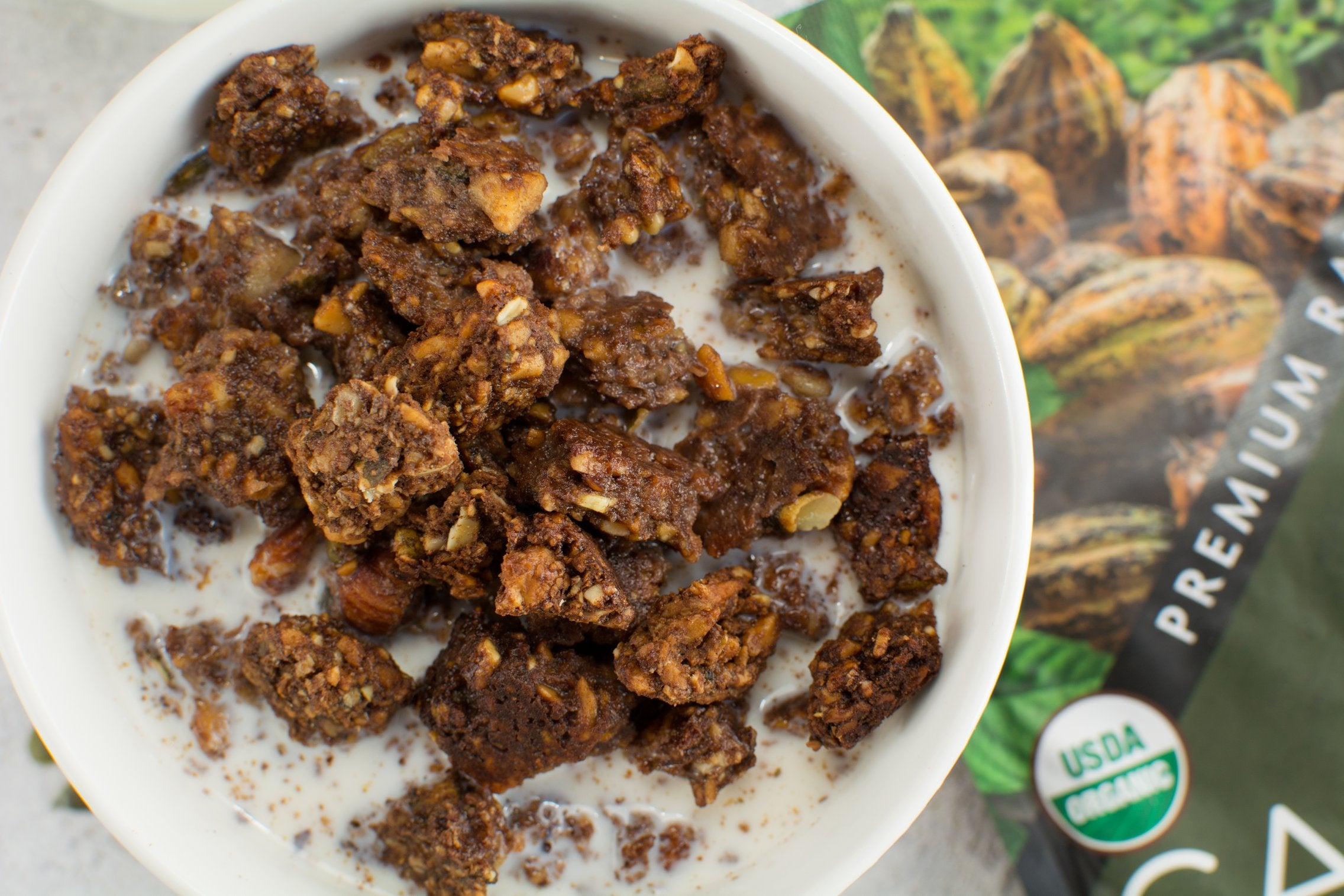 Homemade Gluten-Free Cacao Granola front view