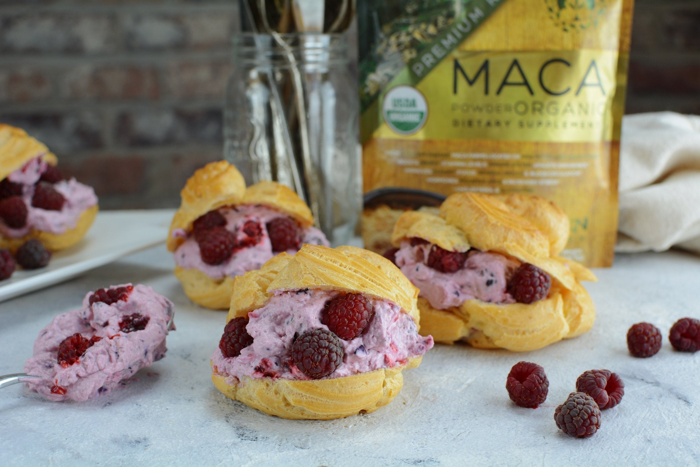 Raspberry and Maca Cream Puffs