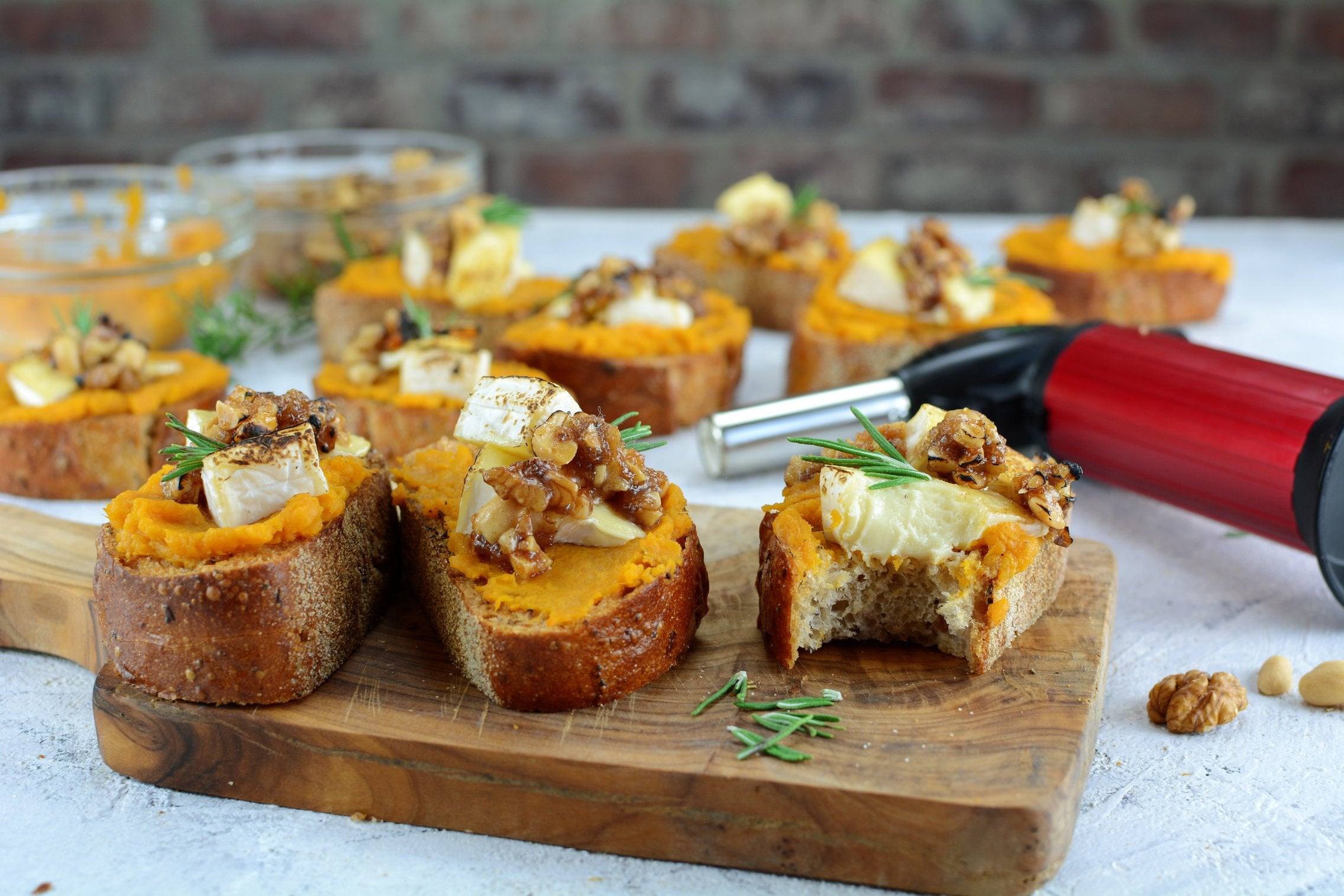 Sweet Potato and Brie Crostini with Candied Nuts with Torch