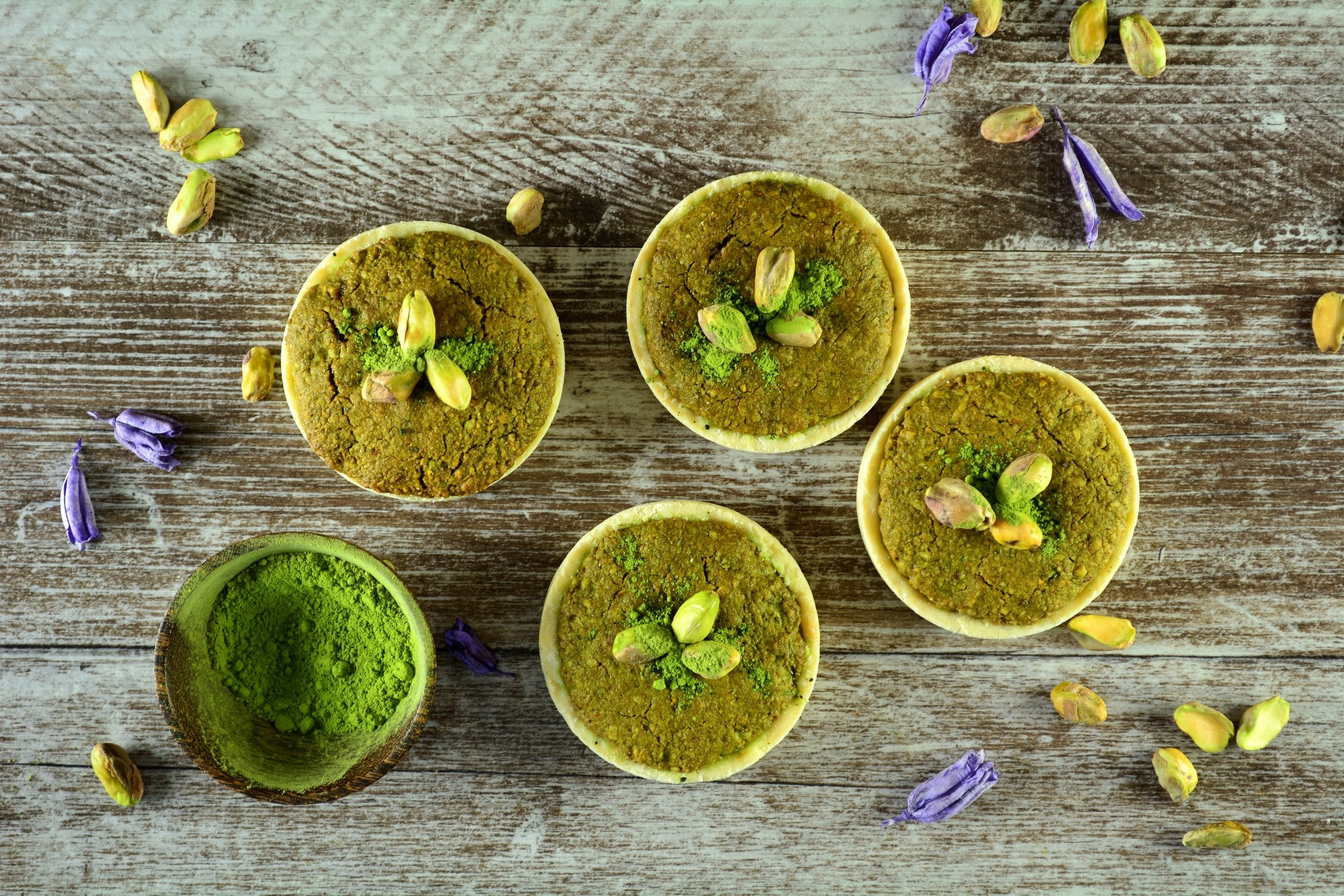 Pistachio Matcha Tarts with Strawberries