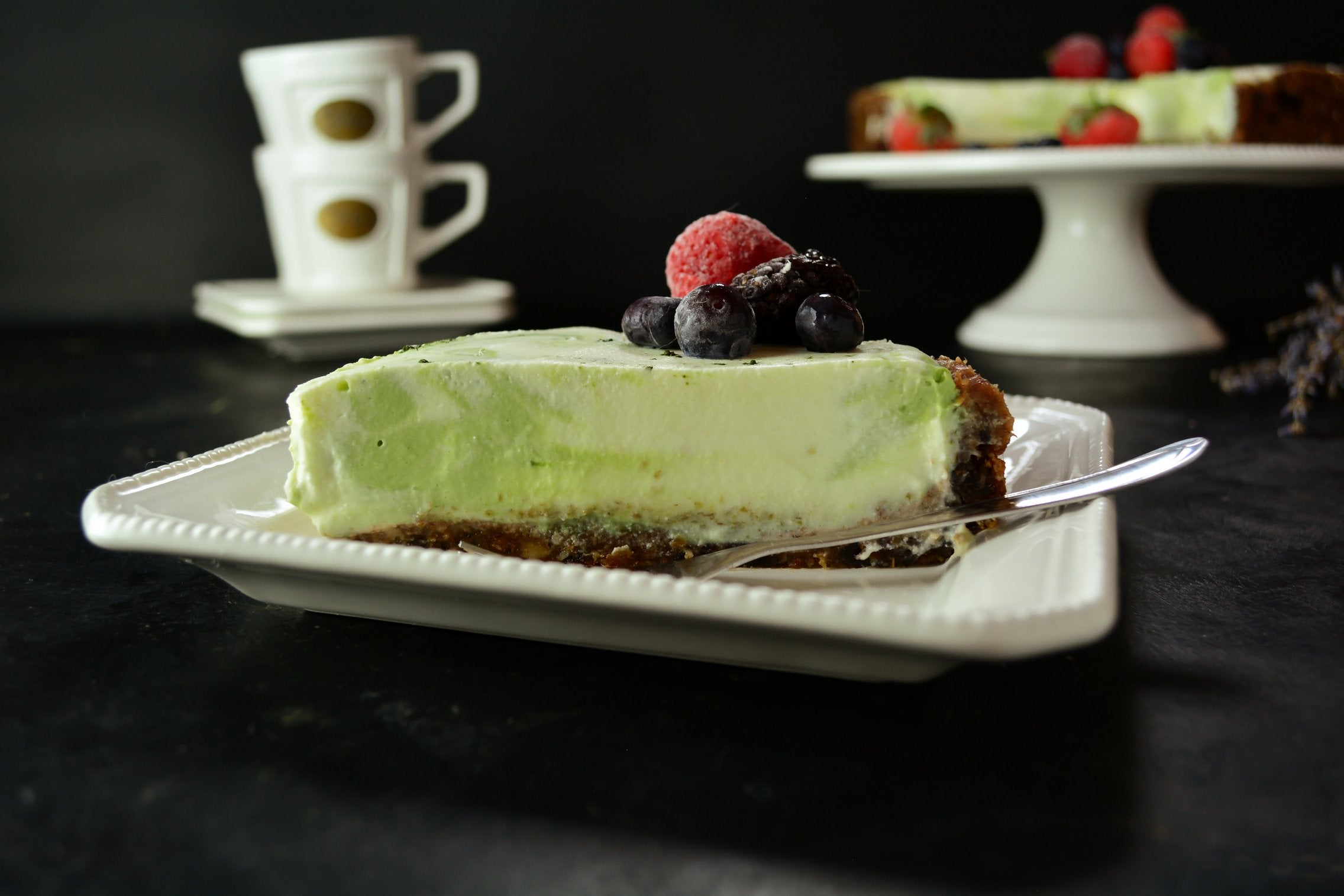 Matcha Swirl Cheesecake With Walnuts, Cashew and Coconut Cream