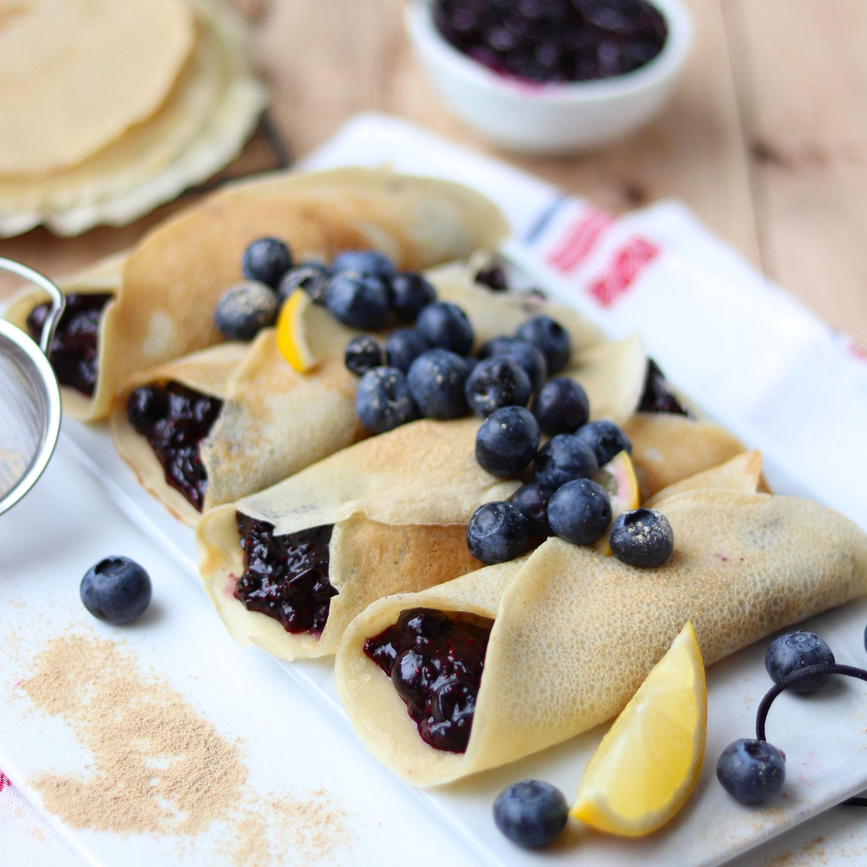 Maca Crepes with Blueberry and Chia Jam