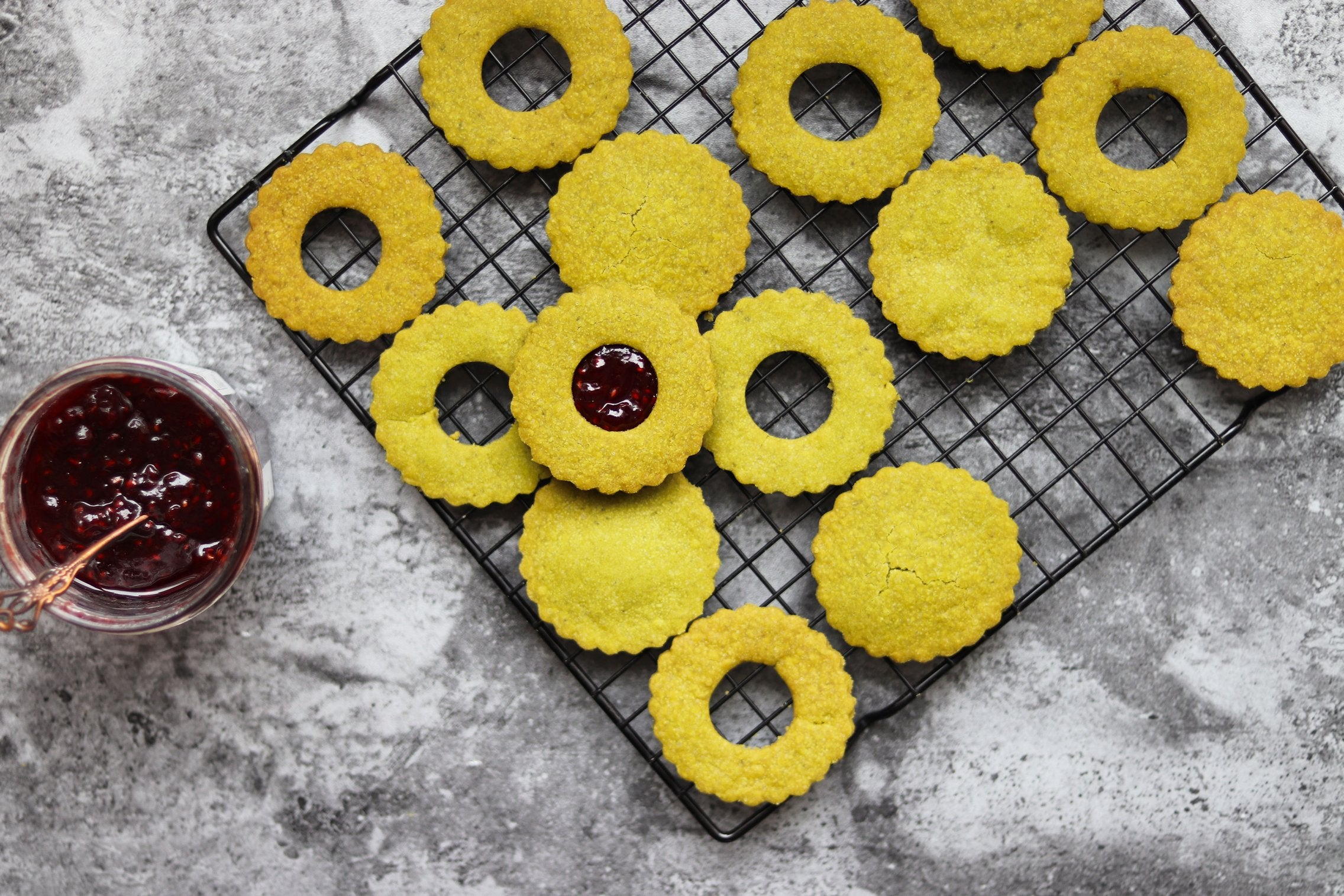 Matcha Shortbread Cookies with Raspberry Jam