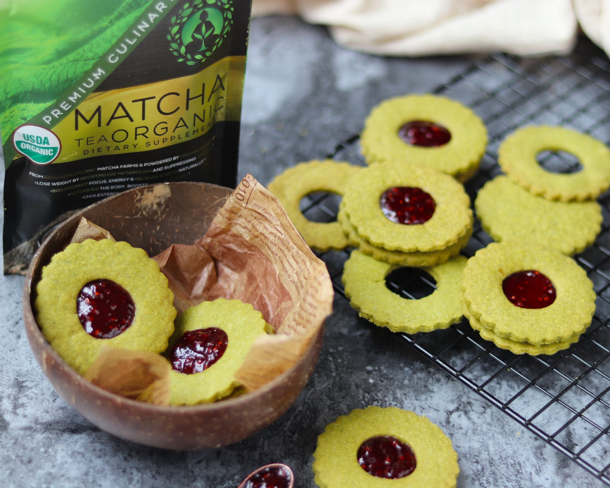 Matcha Shortbread Cookies - Final Product