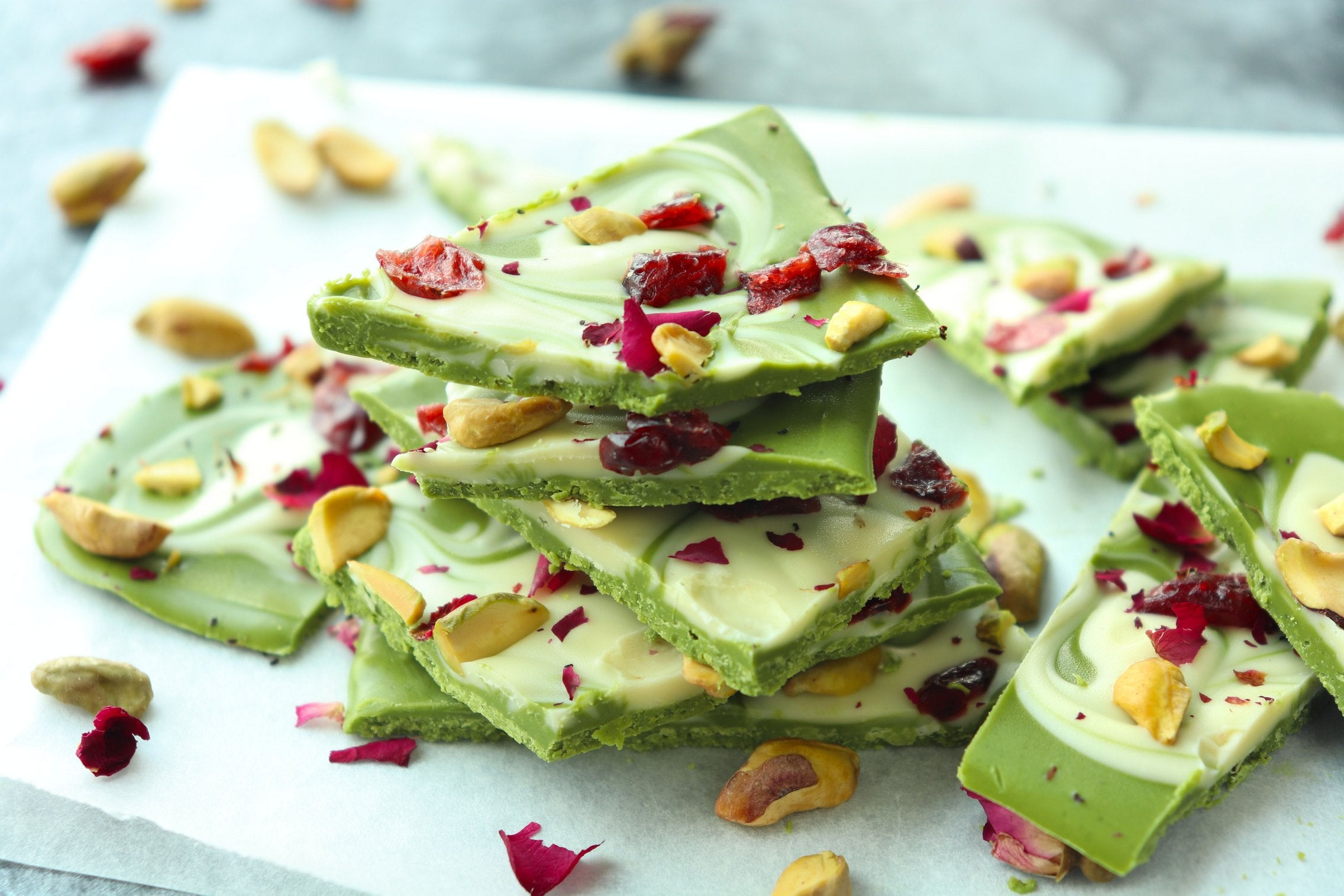 Matcha White Chocolate Bark with Pistachios and Dried Cranberries