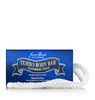 Jack Black Turbo Body Bar Scrubbing Soap on a Roap