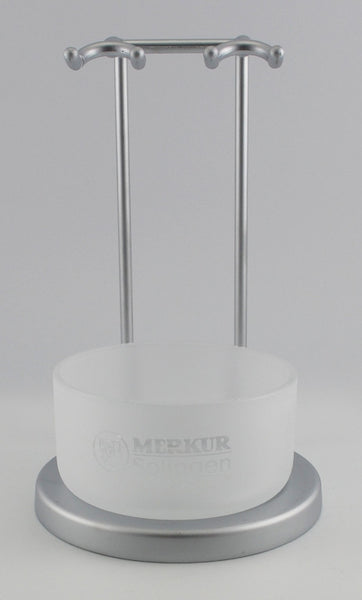 Merkur Vision Razor & Brush Stand with Frosted Glass Logo Bowl