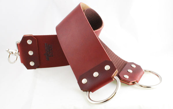 "Straight Razor Designs 3"" Red Latigo Strop with D-Rings"