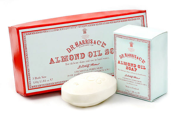 D.R. Harris Almond Oil Soap 3 Pack -  Bath or Hand Size