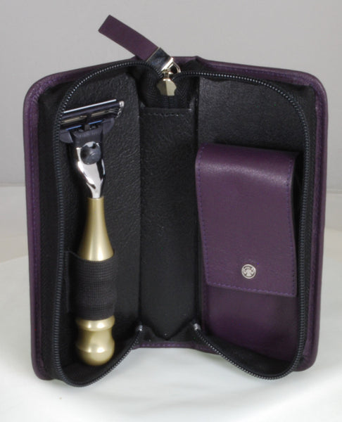 Dovo Razor and Manicure Set Purple Leather Case