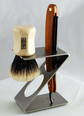 Dovo Contemporary Stainless Steel Straight Razor and Brush Stand