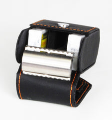 Edwin Jagger Black with Orange Stiching Double Edge Travel Case - Straight Razor Designs