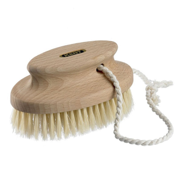 Kent Bath Brush FD11 Beechwood and Pure White Bristles