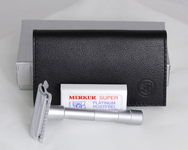 Merkur Travel Full Size Double Edge Safety Razor in Leather Case