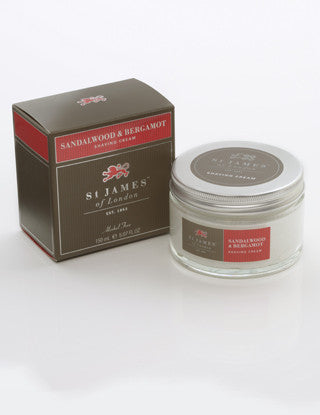 St James of London Sandalwood & Bergamot Shave Cream Tub