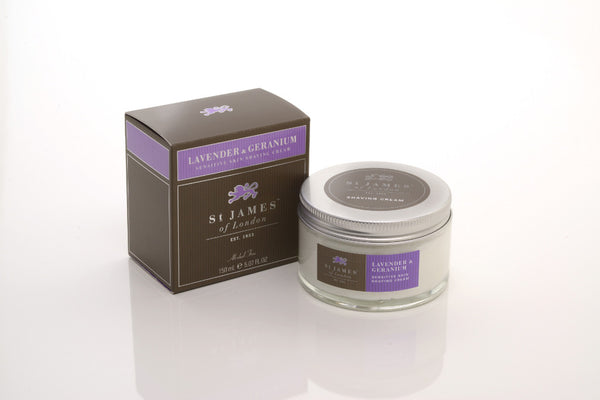 St James of London Lavender & Geranium Shave Cream Tub