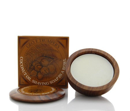Geo. F. Trumper Coconut Oil Hard Shaving Soap in Wooden Bowl