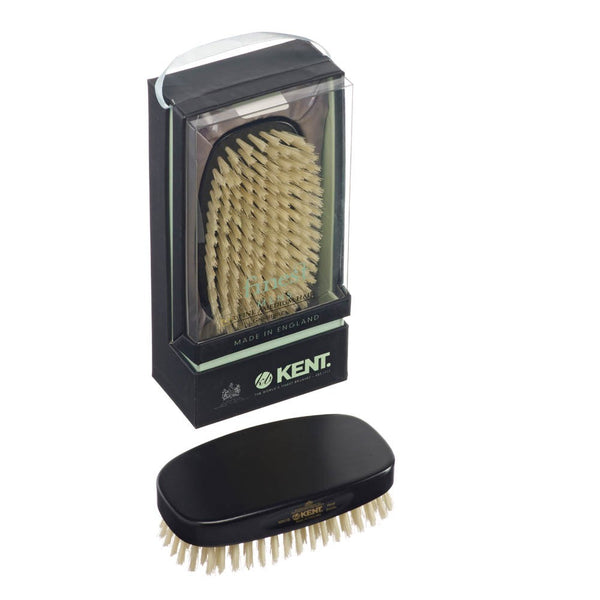 Kent Hair Brush MN1B Ebony Handle Pure White Bristles