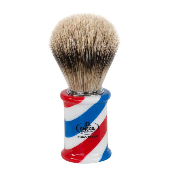 Omega 6735 Silvertip Badger Shaving Brush Barber Pole