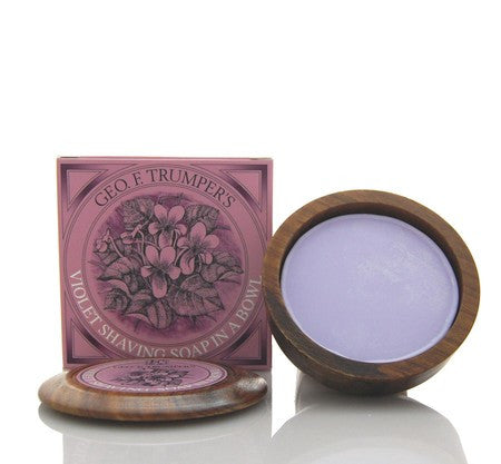 Geo. F. Trumper Violet Hard Shaving Soap in Wooden Bowl