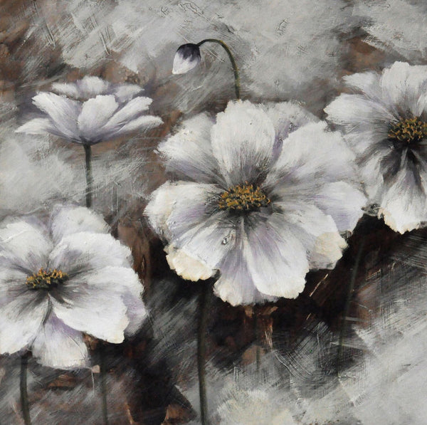 Black and White Glossy Floral Oil Painting