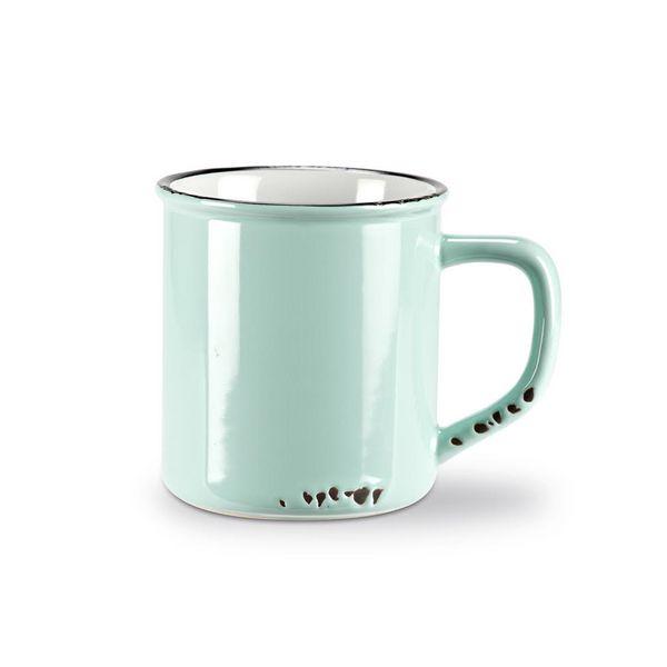 Mint Green Vintage Enamel Coffee Mug