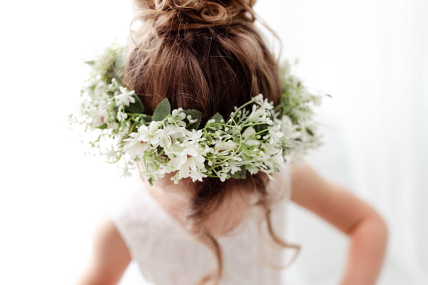 white floral halo