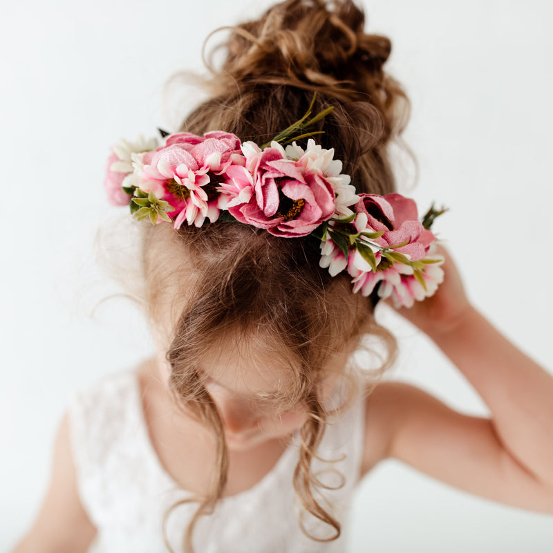 pink and white floral crown