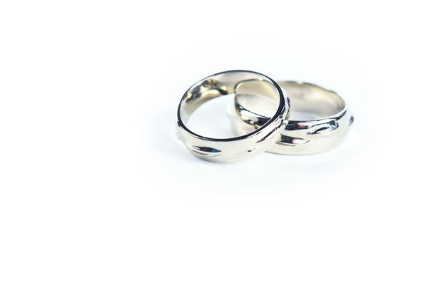 White Gold Birch Bark Wedding bands
