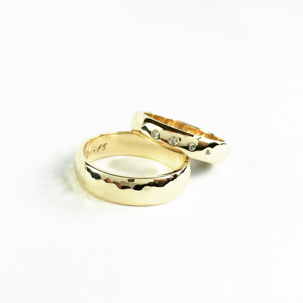 14k Yellow gold hammered wedding bands