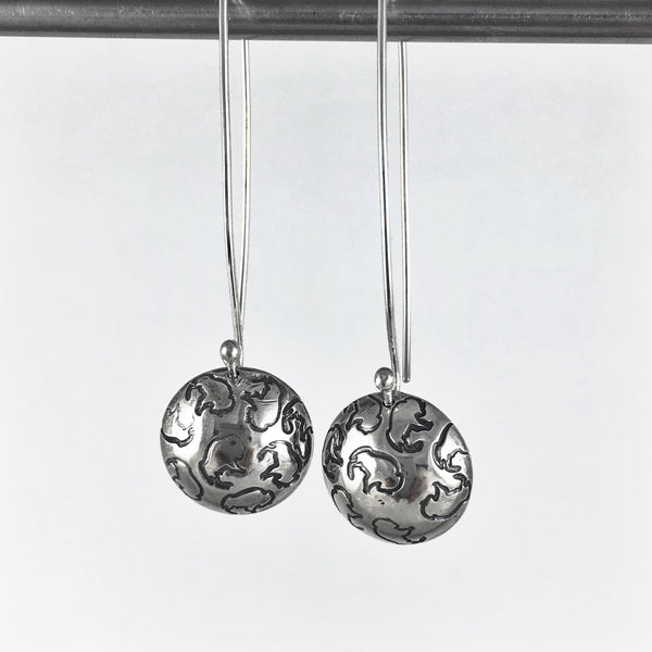 Silver Bison Drop Earrings