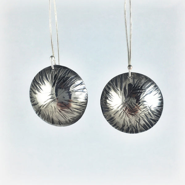 Silver Hair Texture Drop Earrings