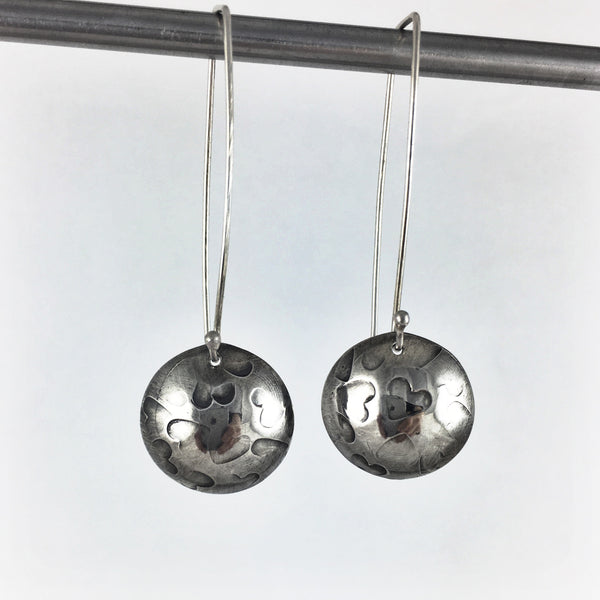 Silver Hearts Drop Earrings