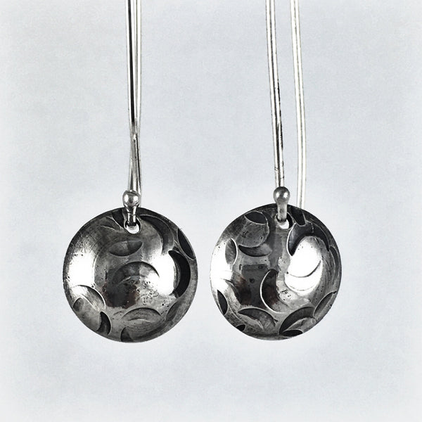Silver Moon Drop Earrings