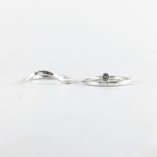 Stacking Eye Rings Set: sterling with salt and pepper diamond