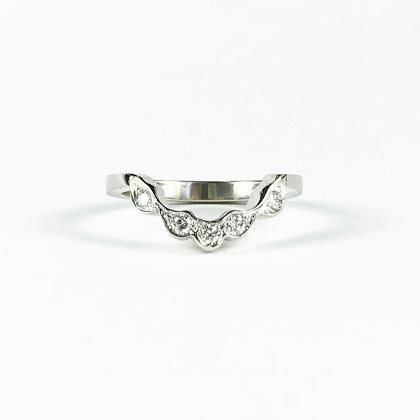 Scalloped diamond wedding band - white gold